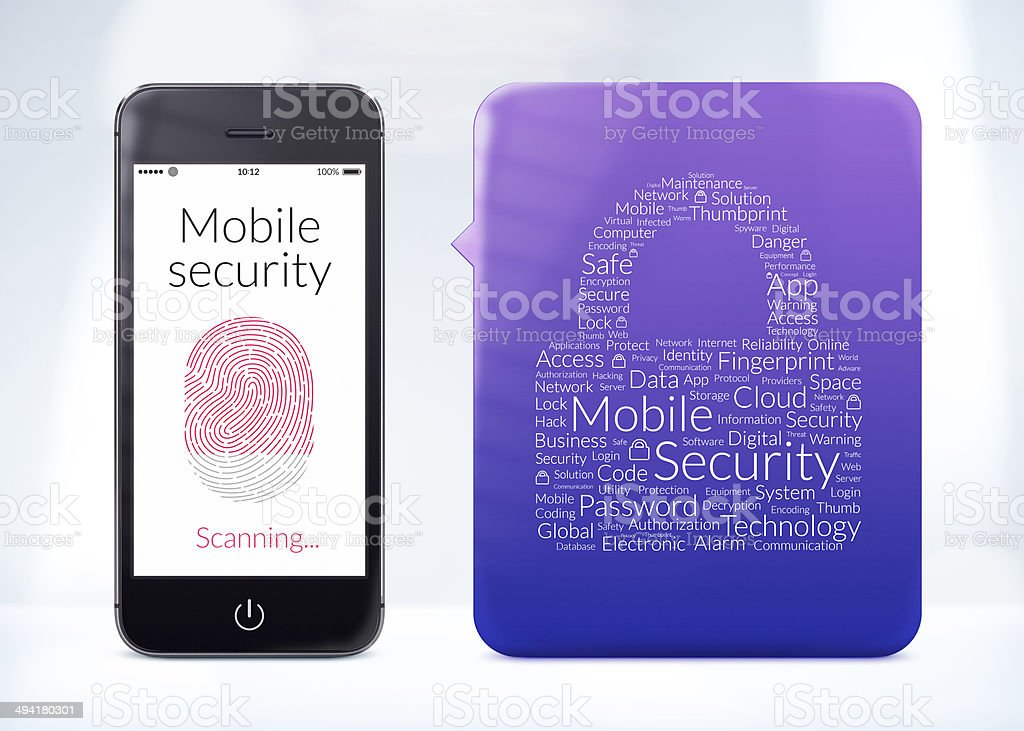 Mobile security fingerprint scanning is on the modern smartphone stock photo