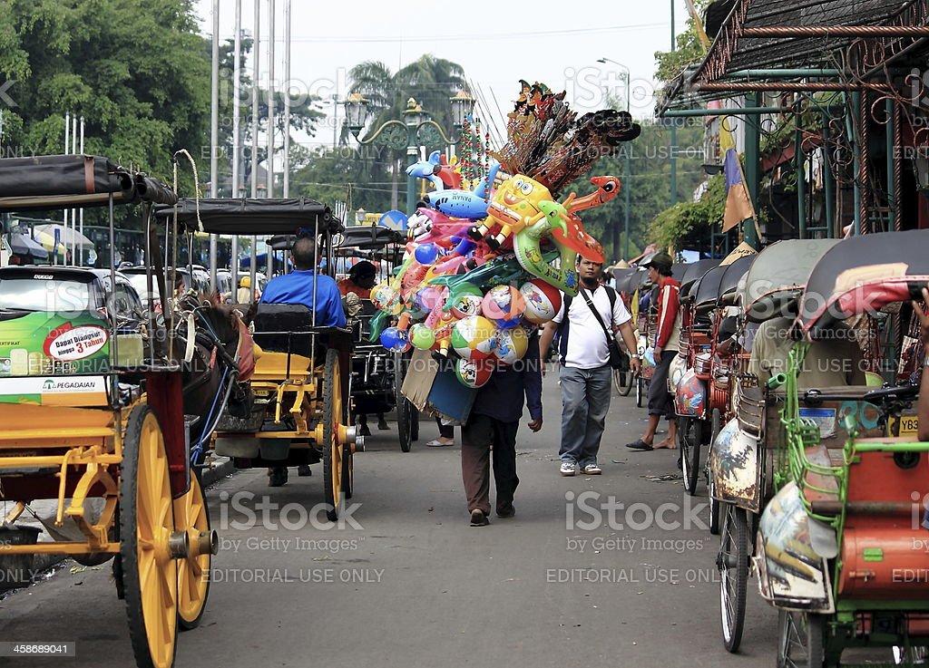 Mobile shop lady in Jogyakarta Indonesia stock photo