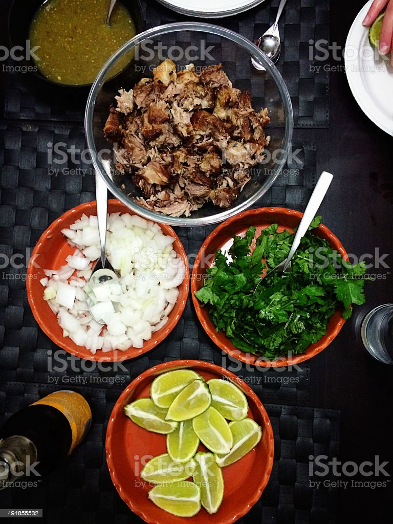 Mobile shot of a table filled with Carnitas Ingredients stock photo