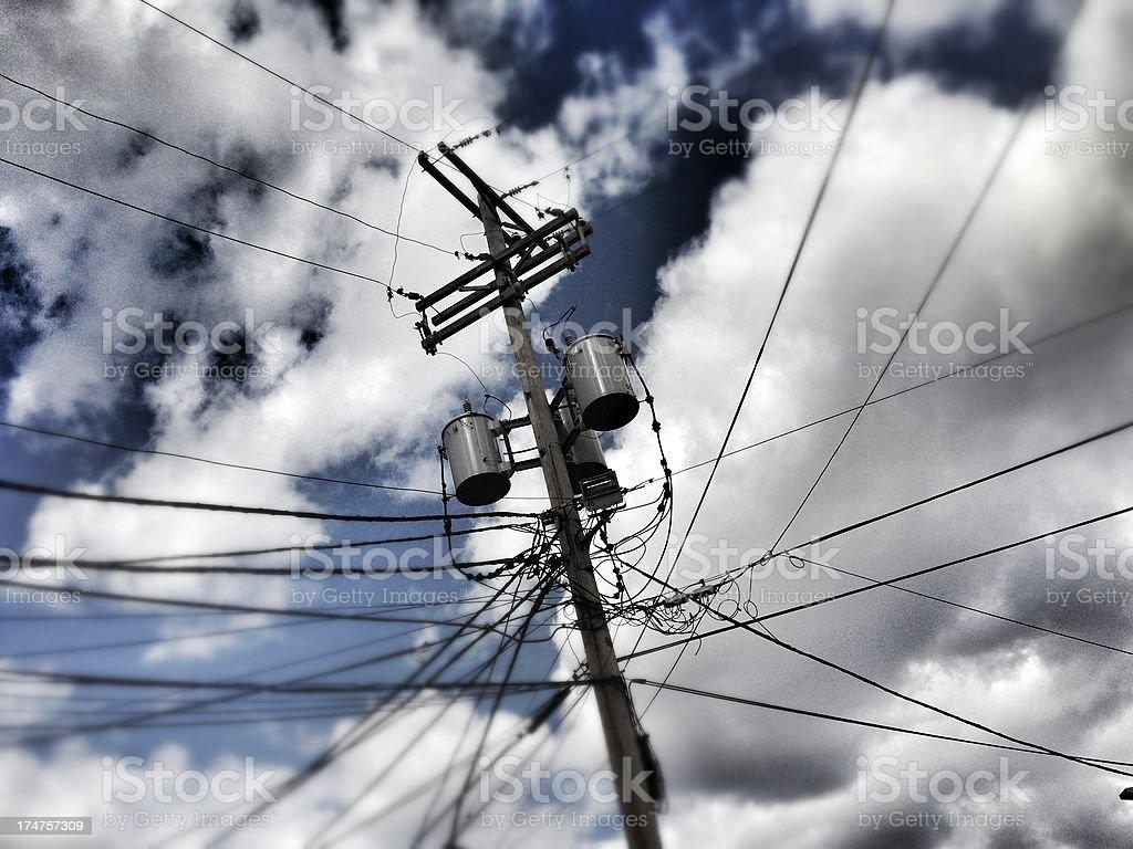 Mobile shot of energy pole royalty-free stock photo