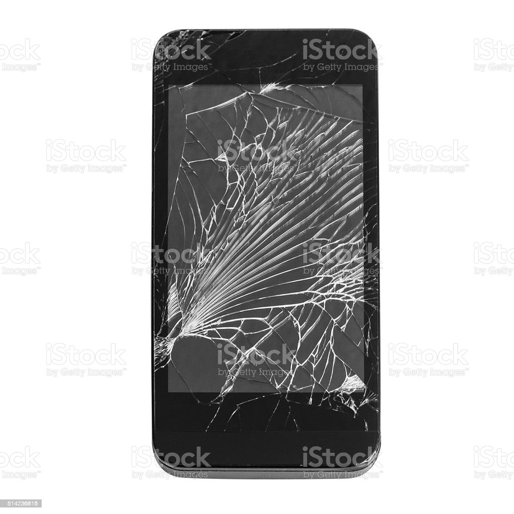 Mobile smartphone with broken screen isolated on white backgroun stock photo