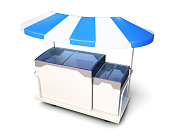 Mobile stall with ice cream under a canopy