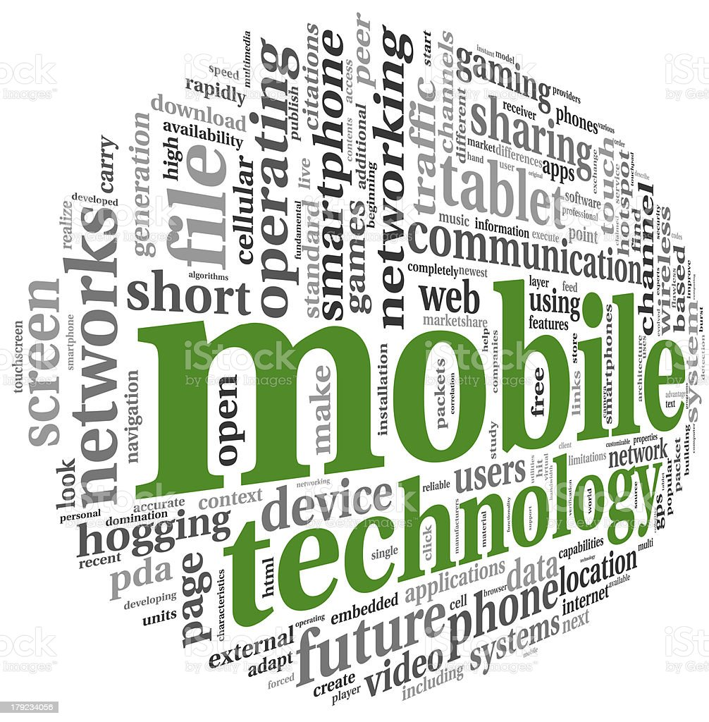 Mobile technology concept in word tag cloud royalty-free stock photo