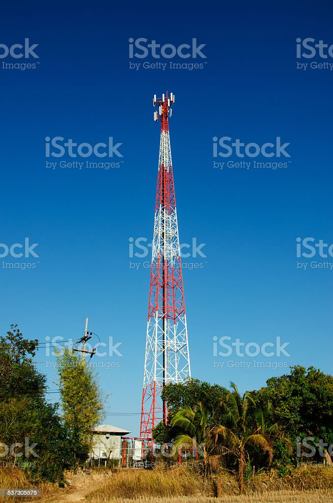 Mobile telecommunication post with blue sky stock photo