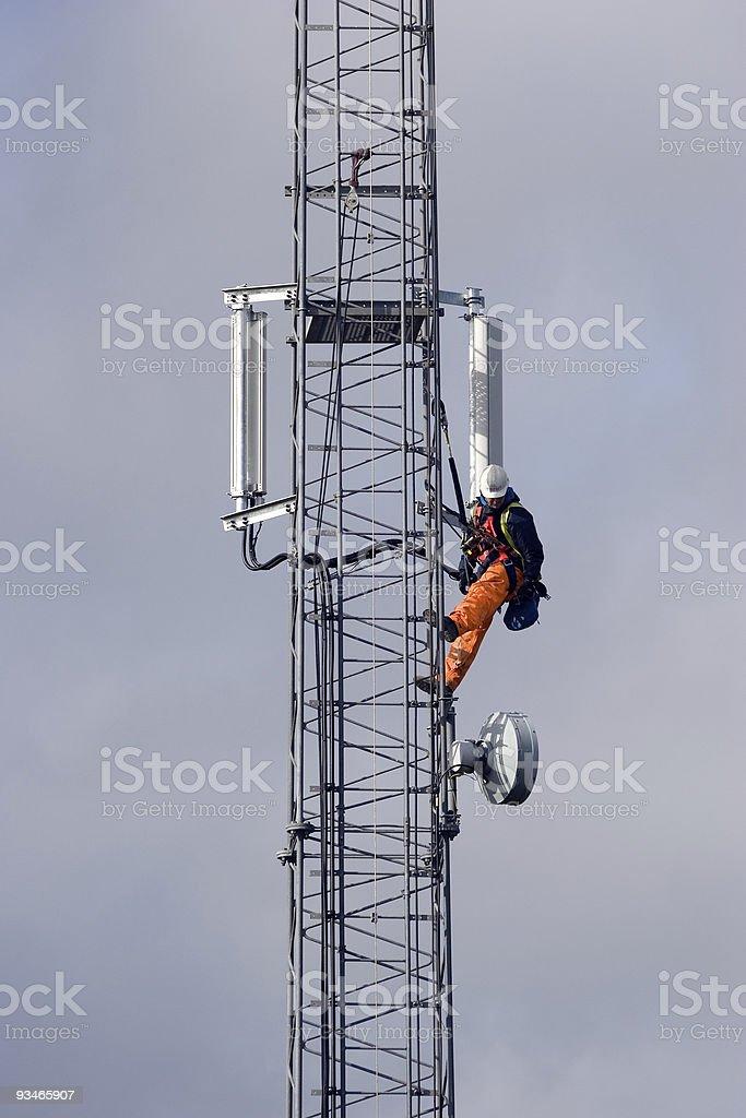 Mobile Telephone Cellphone Mast Maintenance royalty-free stock photo