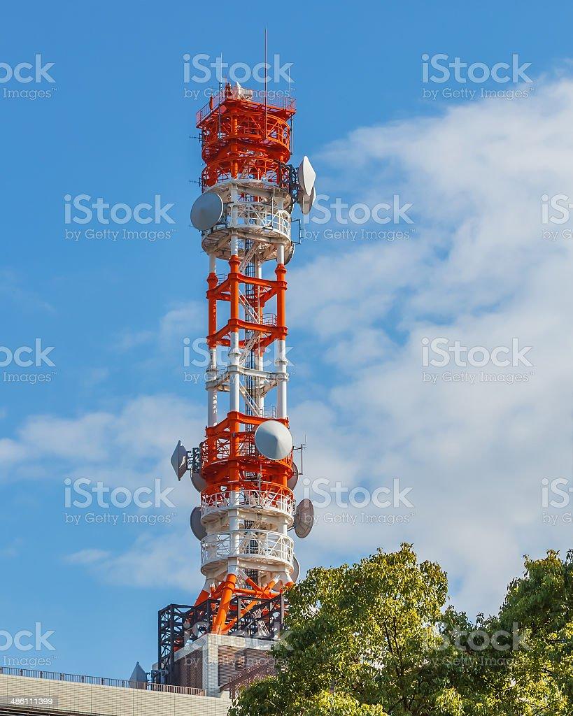 mobile telephone radio tower stock photo