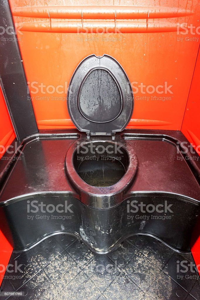 Mobile toilet inside stock photo