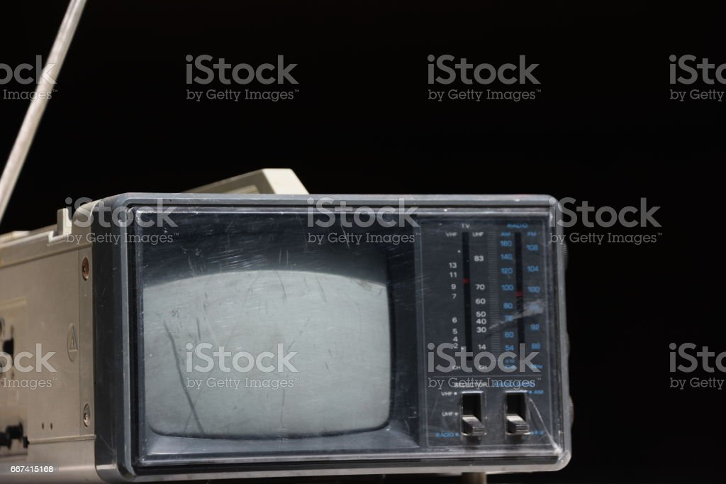 Mobile TV,  insulated on black stock photo