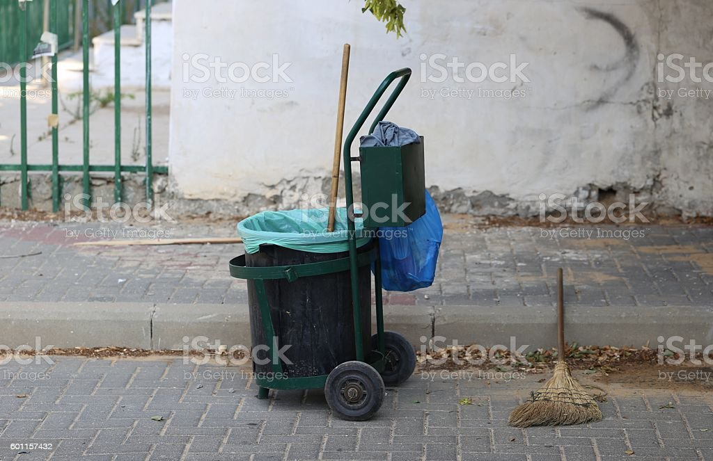 Mobile Waste Can. stock photo