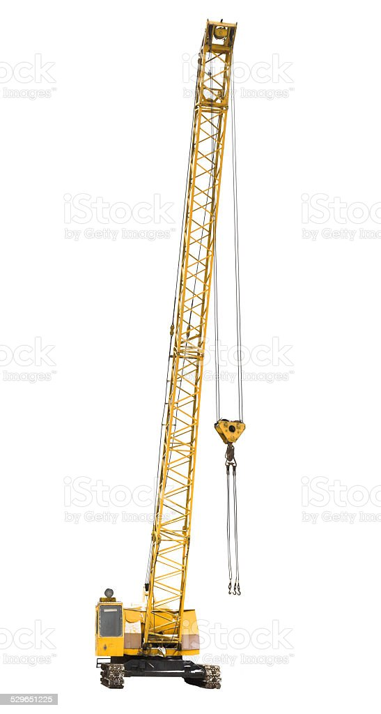 mobile yellow crawler crane isolated on white stock photo
