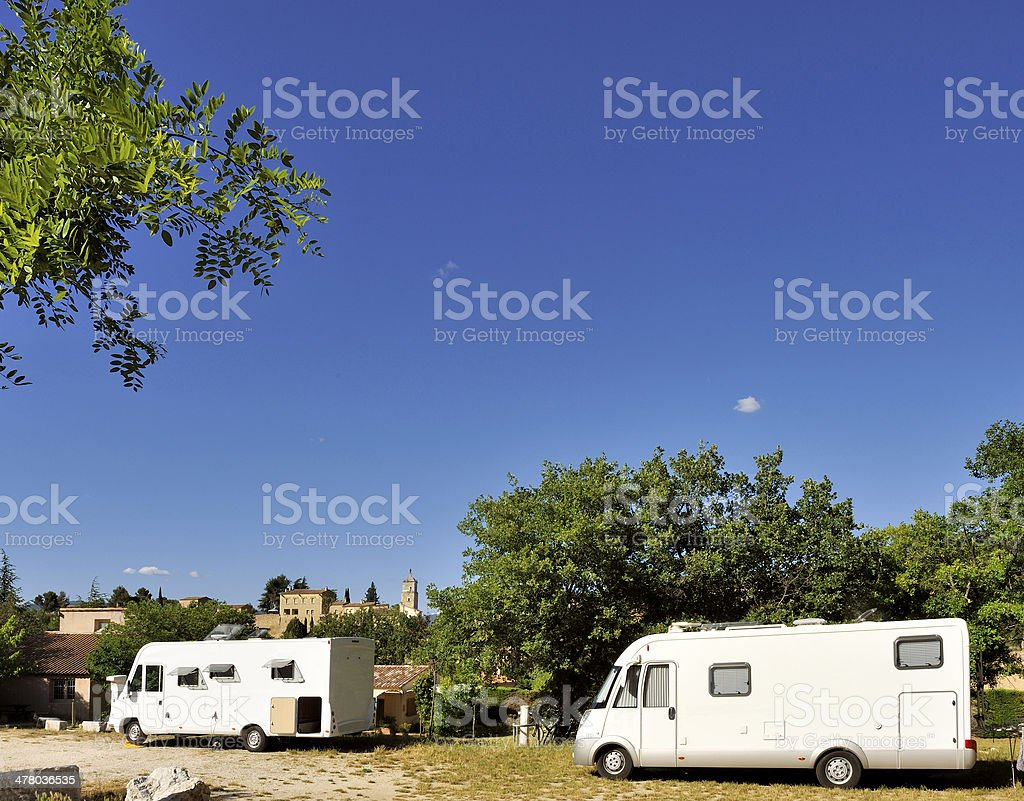 Mobilehomes at the camping royalty-free stock photo