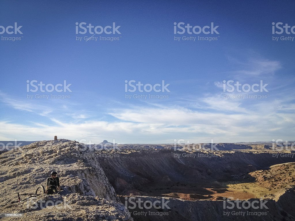 mobilestock desert landscape mountain biker resting royalty-free stock photo