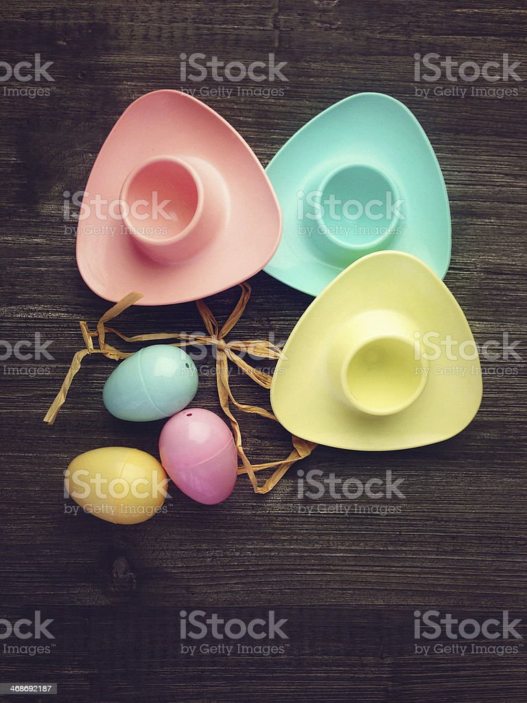 MobileStock: Vintage Eggcups and Easter Eggs stock photo