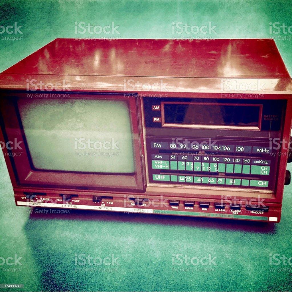 Mobilestock Vintage grungy tv radio alarm clock royalty-free stock photo