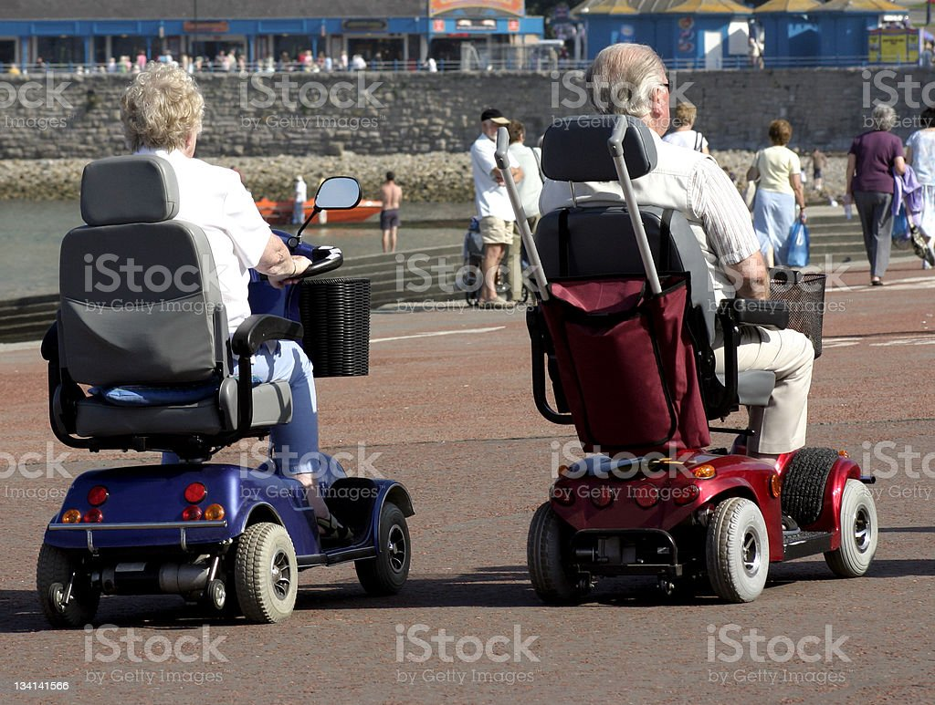 Mobility Scooters on Seafront stock photo