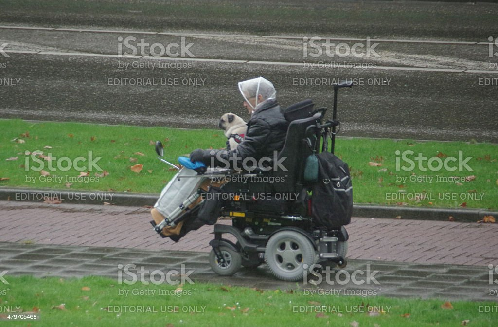 Mobilty scooter on the road stock photo