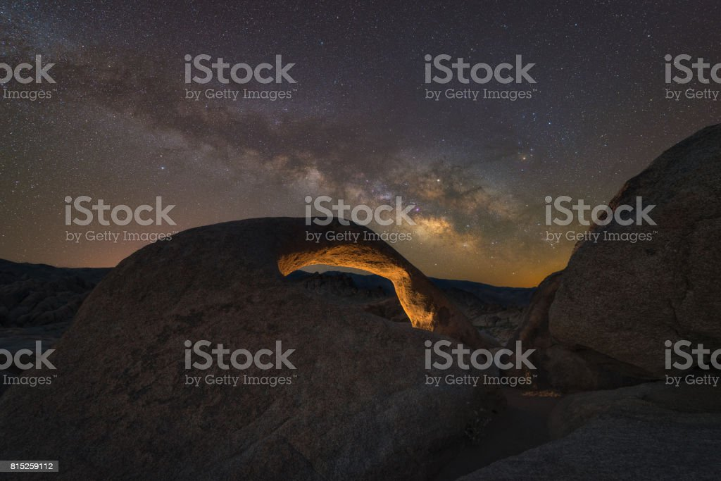 Mobius Arch Under The Milky Way Galaxy stock photo