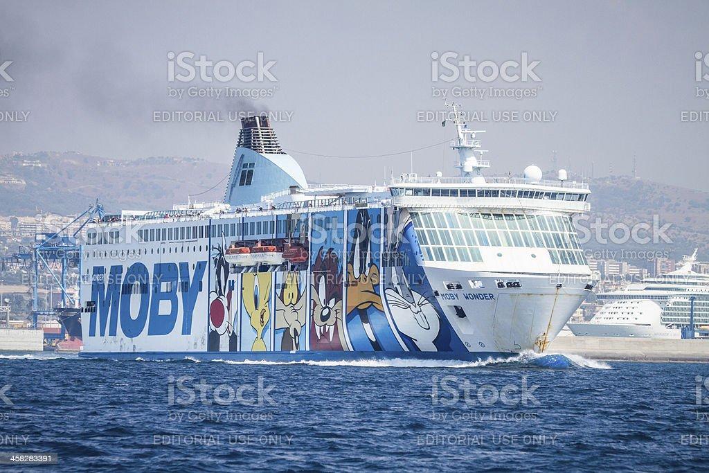 Moby Prince Ferry boat heading Sardinia stock photo
