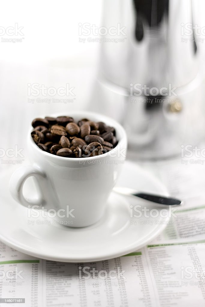 mocca maker and coffee cup isolated on white background royalty-free stock photo