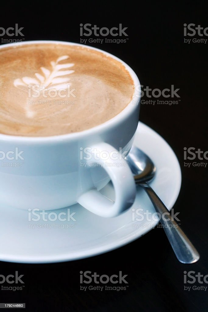 Mocha Coffee with leaf design stock photo