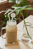 mocha cold/coffee cold in a glass bottle with vase