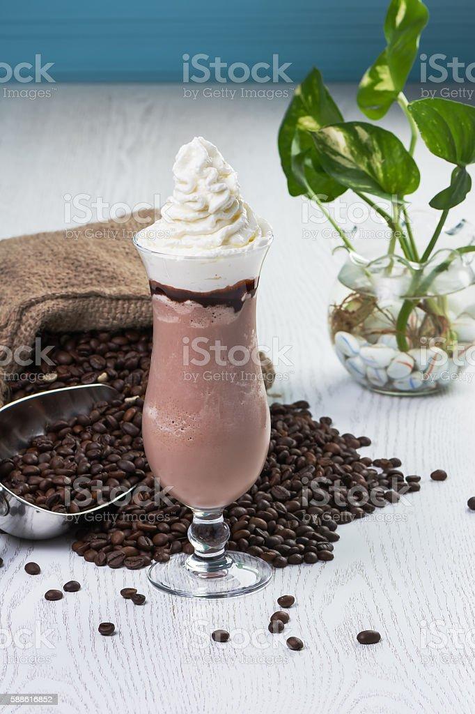 Mocha with Whipped Cream stock photo