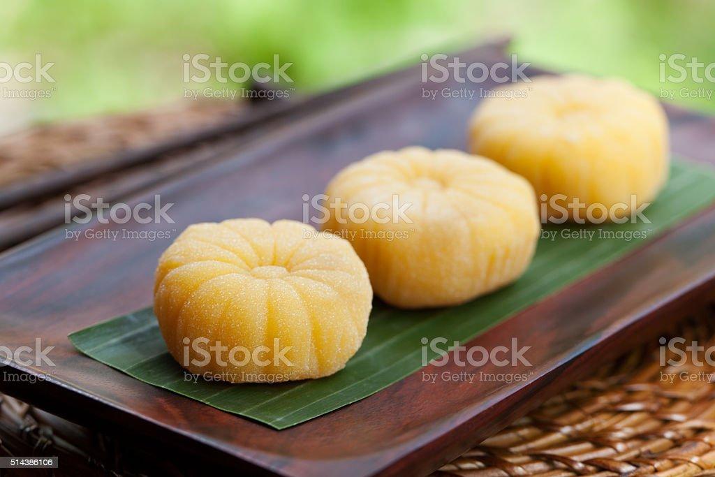 Mochi japanese dessert with mango Outdoor garden background stock photo