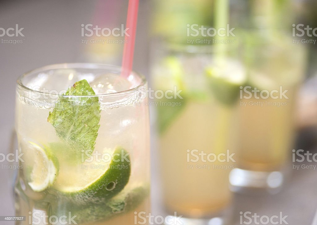 mochito cocktail blurred background stock photo
