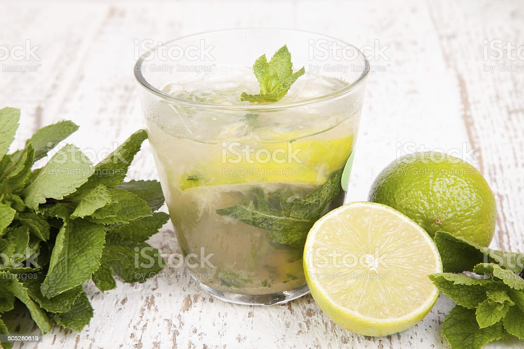 Mochito with lime and mint stock photo