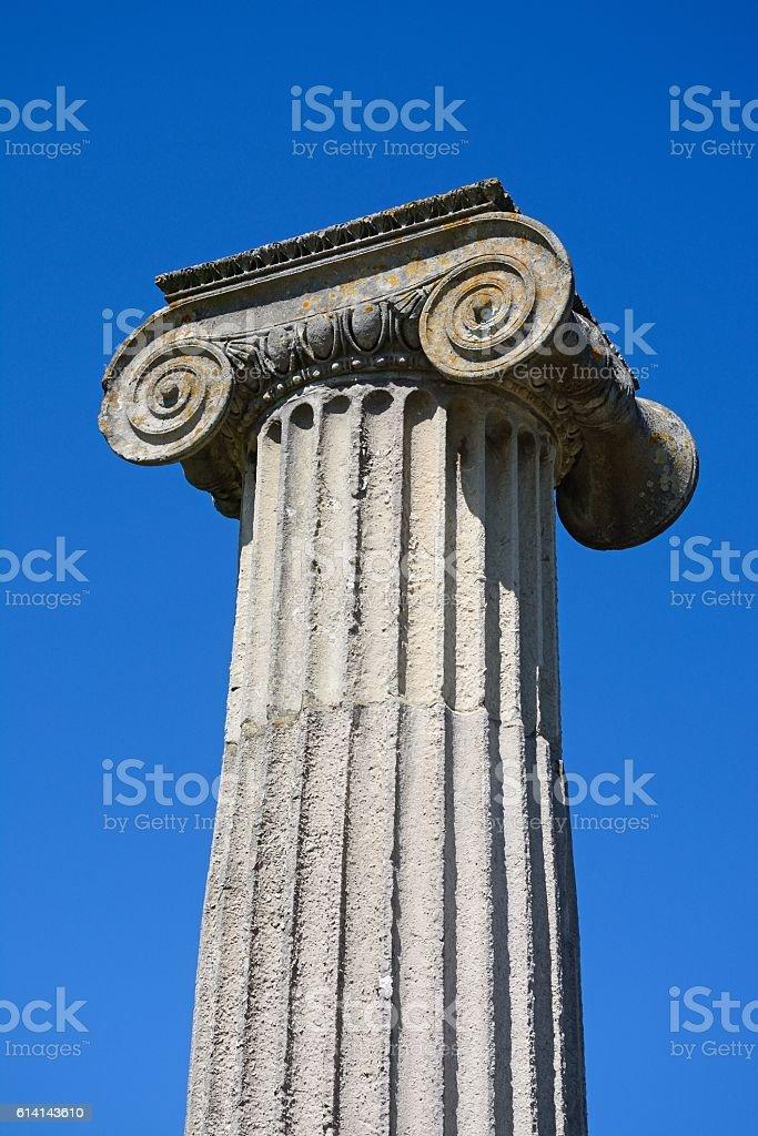 Mock Roman ampitheatre column, Swanage. stock photo