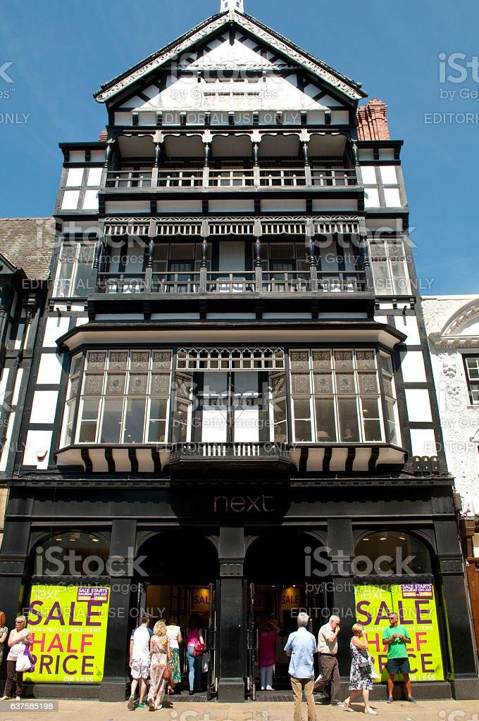 Mock Tudor house, Next shop, Foregate Street, Chester, Cheshire, UK stock photo