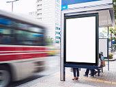 Mock up Billboard Banner template at Bus Shelter
