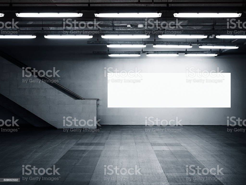 Mock up Blank Banner Media Light box Interior Modern Architecture stock photo