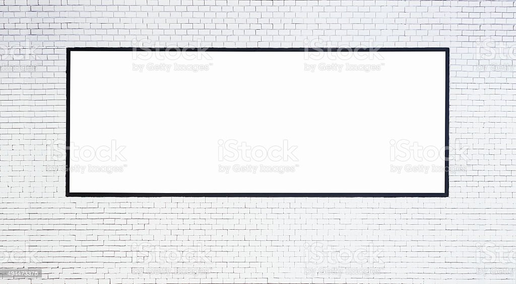 Mock up Blank Banner with frame on White brick wall stock photo