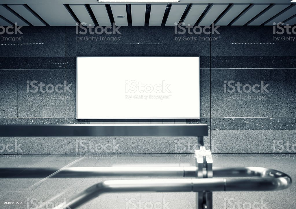 Mock up Blank Billboard Banner Light box in subway station stock photo