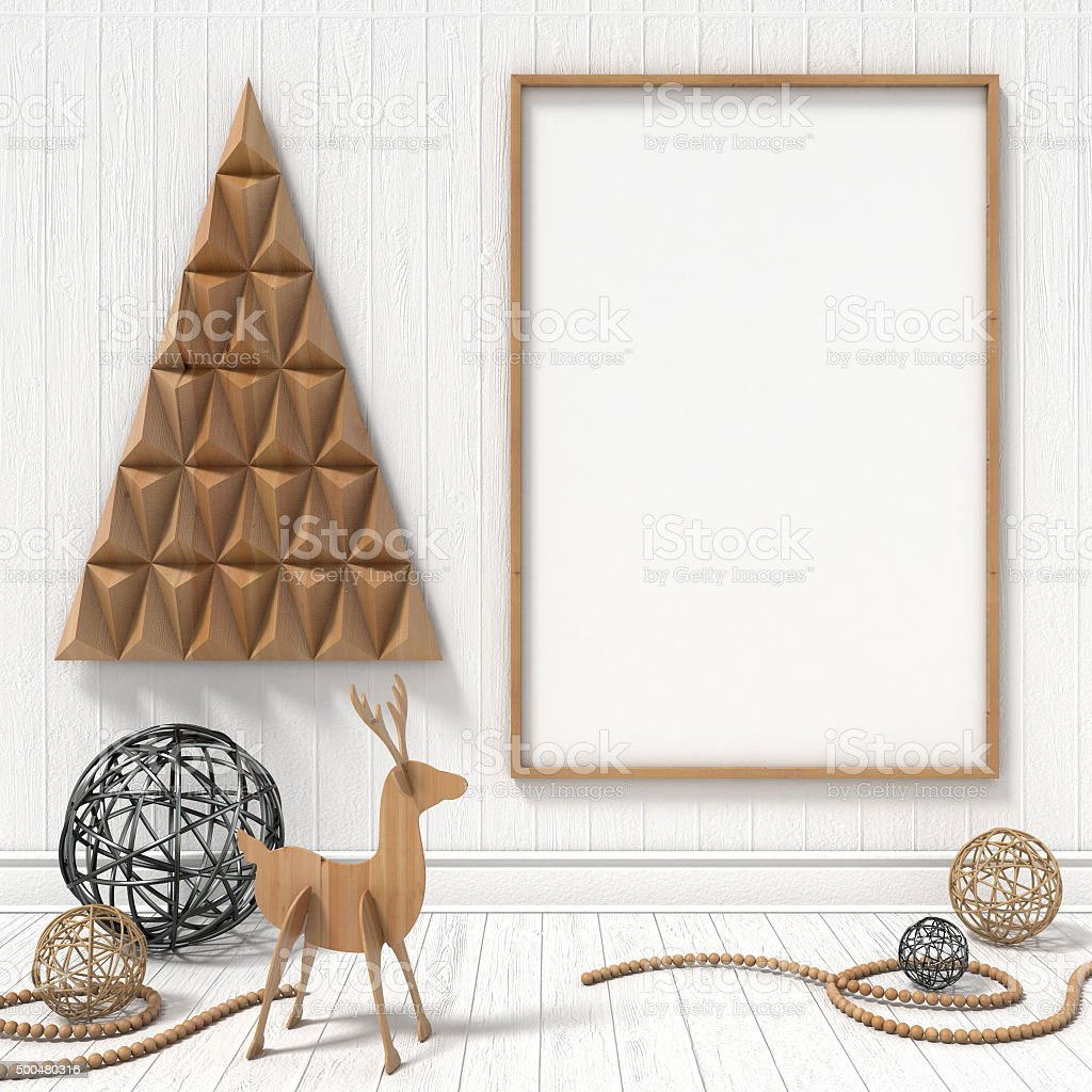 Mock up blank picture frame, Christmas decoration. 3D render stock photo