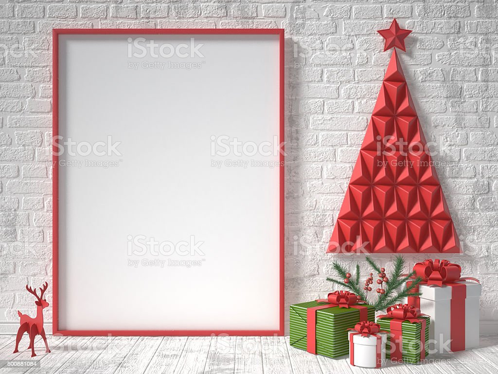 Mock up blank picture frame, Christmas decoration stock photo