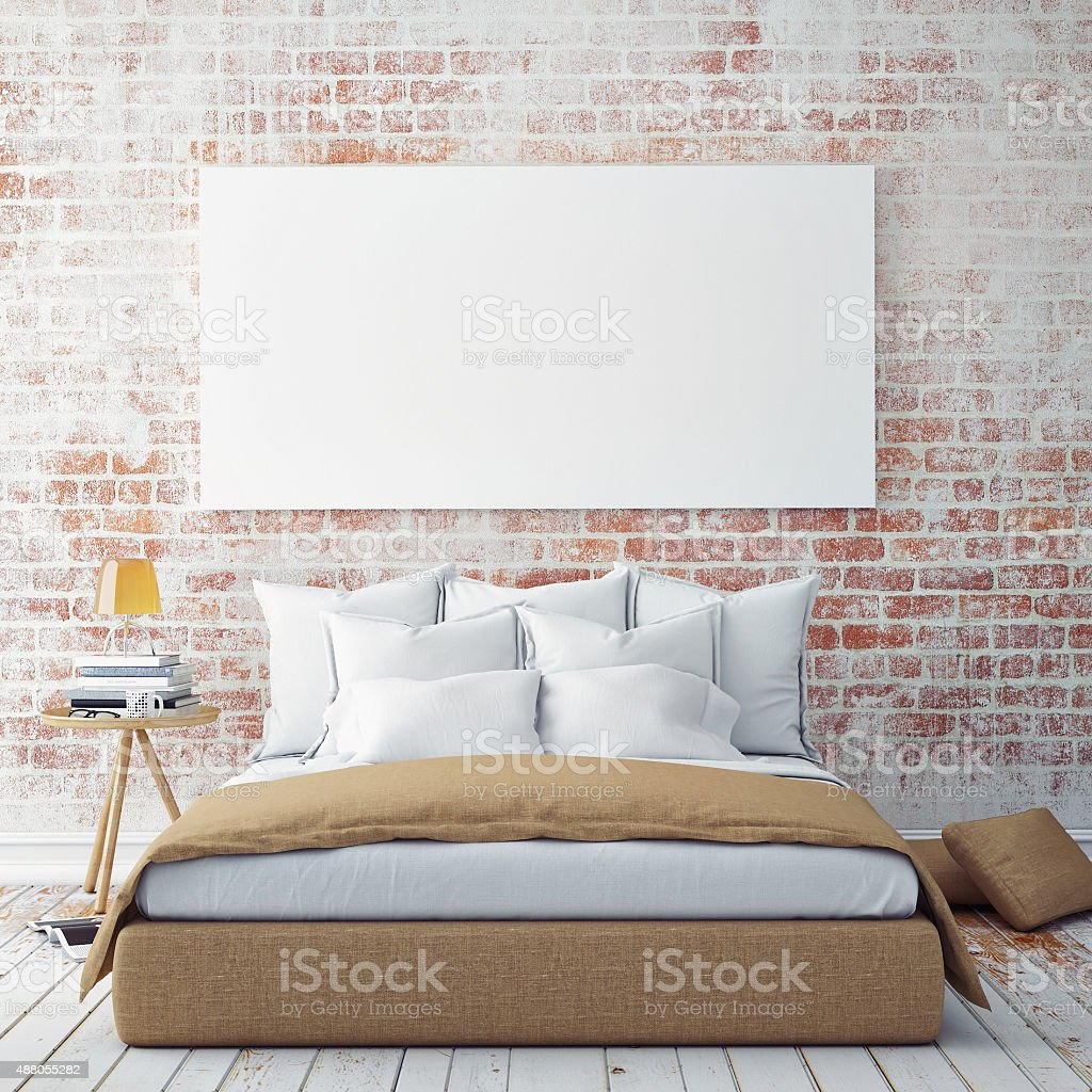 Mock ups of one bedroom two bedroom and three bedroom apartments - Mock Up Blank Poster On The Wall Of Bedroom Royalty Free Stock Photo