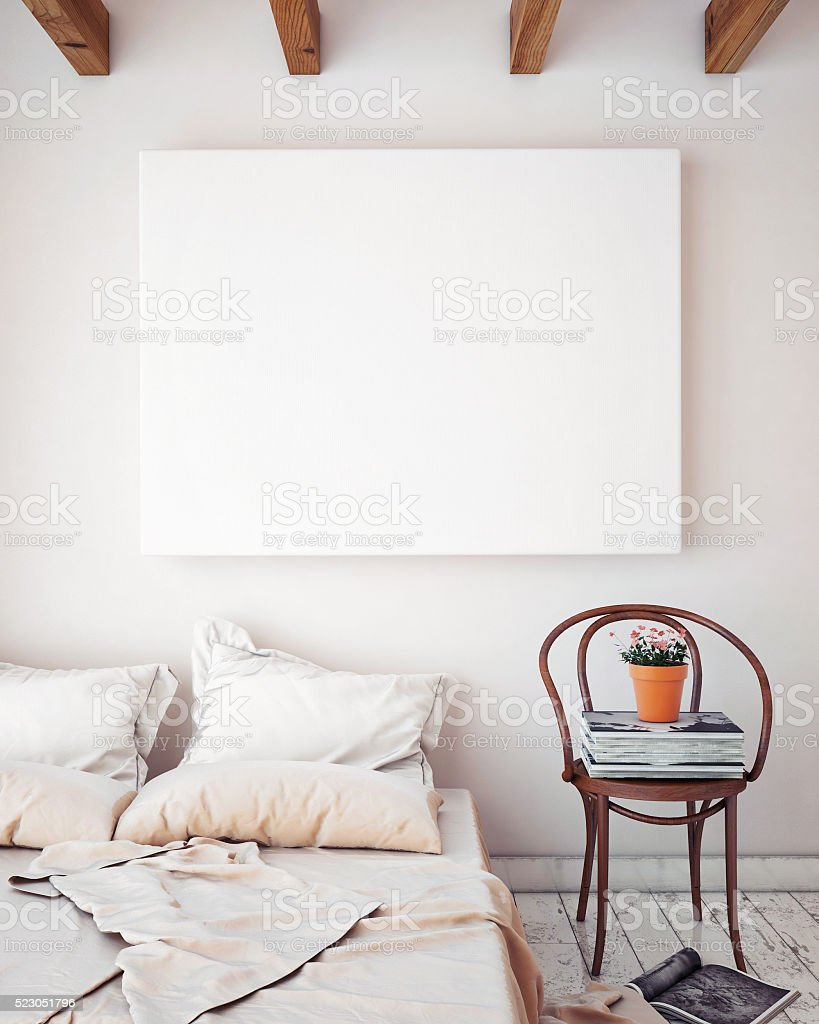 mock up blank poster on the wall of bedroom stock photo