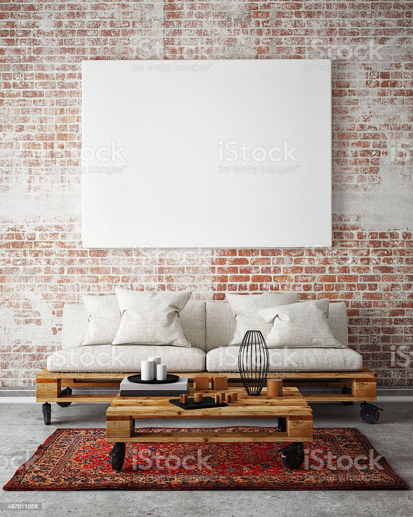 mock up blank poster on the wall of livingroom, stock photo