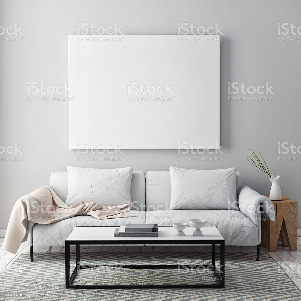 mock up blank poster on the wall of livingroom stock photo