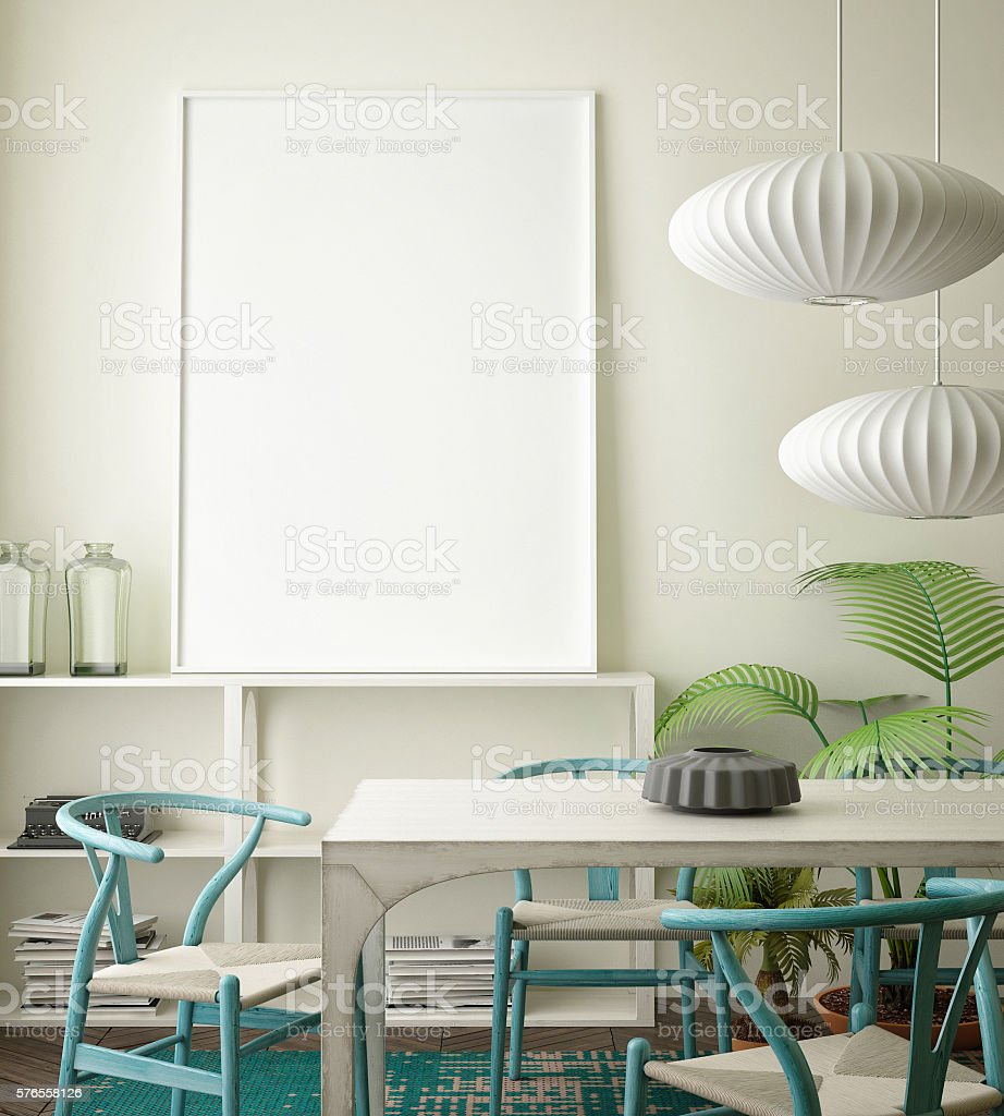 mock up blank poster on the wall vintage living room stock photo