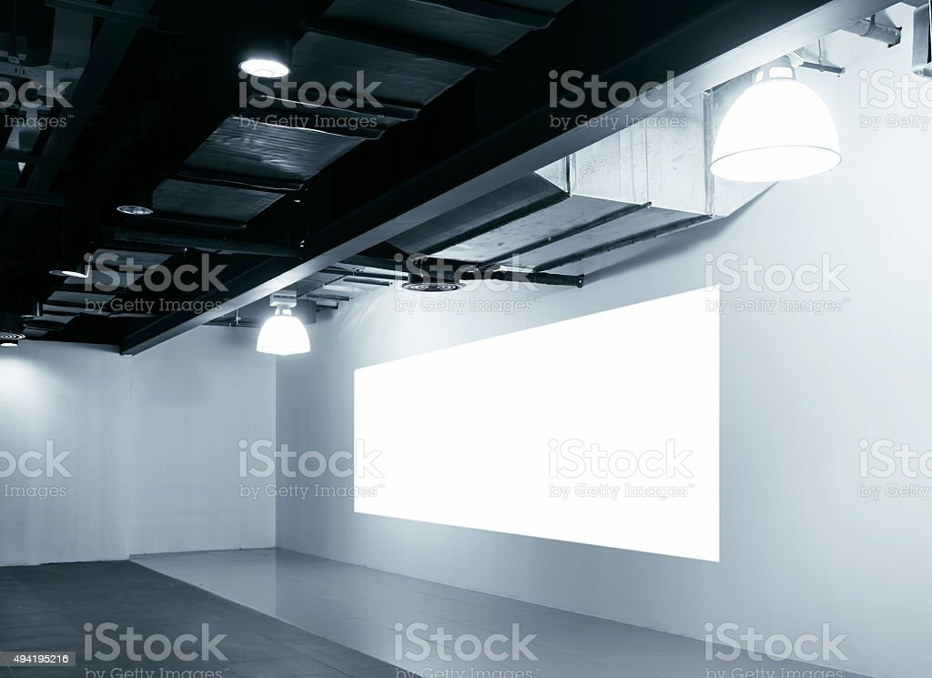 Mock up blank Screen display on wall Exhibition design stock photo