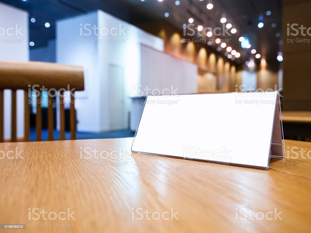 Mock up Blank sign on desk Event Hall Background stock photo