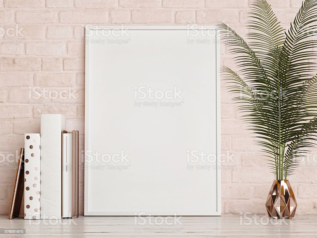 mock up frame on rose brick  wall stock photo