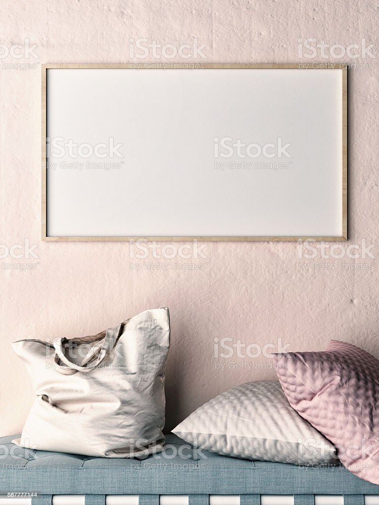 Mock up frame on rose wall,  sofa, pillows and bag stock photo