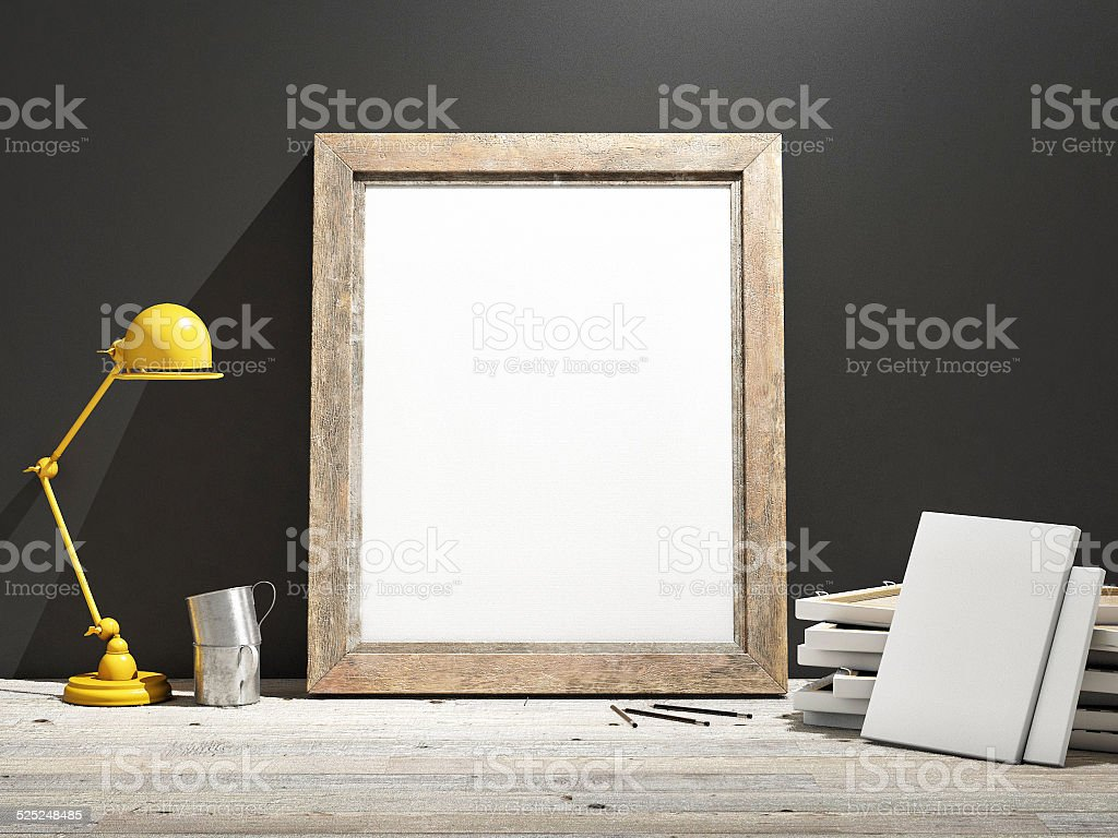 Mock up Frame on Wooden Floor, grey wall stock photo