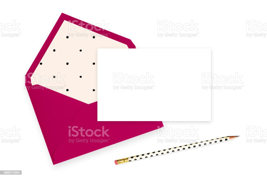 Mock up Invitation, pencil, table view, envelope stock photo