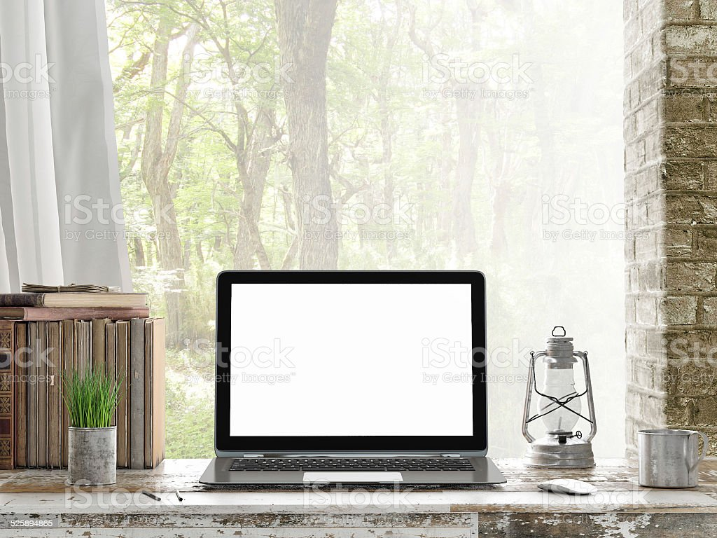 Mock up Laptop, Outdoor view, stock photo