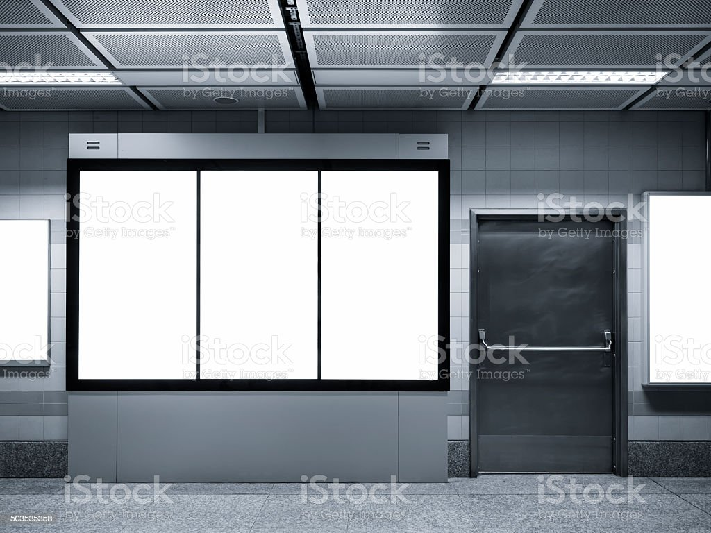 Mock up Light box Poster Banner display in Subway station stock photo